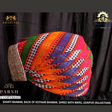S H A H I T A J Traditional Rajasthani Cotton Mewadi Mothda Pagdi or Turban Multi-Colored for Kids and Adults (MT55)-18-4