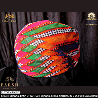 S H A H I T A J Traditional Rajasthani Cotton Mewadi Mothda Pagdi or Turban Multi-Colored for Kids and Adults (MT55)-18-5