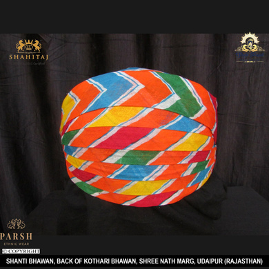 S H A H I T A J Traditional Rajasthani Cotton Mewadi Pagdi or Turban Multi-Colored for Kids and Adults (MT60)-ST139_23andHalf