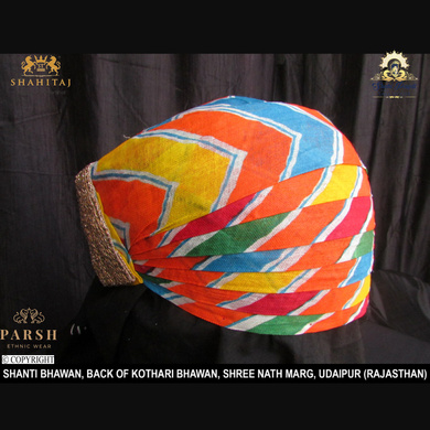 S H A H I T A J Traditional Rajasthani Cotton Mewadi Pagdi or Turban Multi-Colored for Kids and Adults (MT60)-18-4