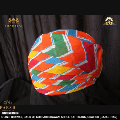 S H A H I T A J Traditional Rajasthani Cotton Mewadi Pagdi or Turban Multi-Colored for Kids and Adults (MT60)-18-3