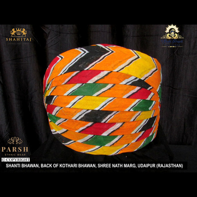 S H A H I T A J Traditional Rajasthani Cotton Mewadi Pagdi or Turban Multi-Colored for Kids and Adults (MT61)-ST140_23andHalf
