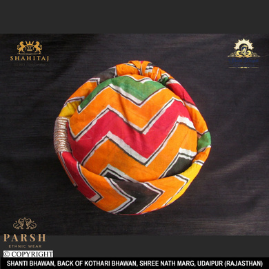 S H A H I T A J Traditional Rajasthani Cotton Mewadi Pagdi or Turban Multi-Colored for Kids and Adults (MT61)-18-3