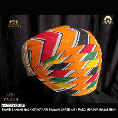 S H A H I T A J Traditional Rajasthani Cotton Mewadi Pagdi or Turban Multi-Colored for Kids and Adults (MT61)-18-4