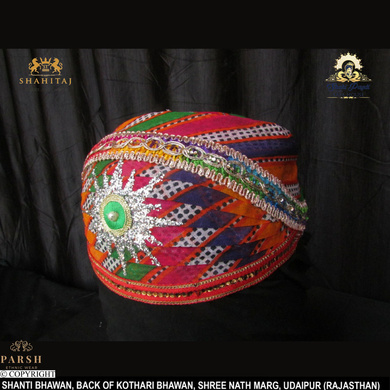 S H A H I T A J Traditional Rajasthani Cotton Mewadi Mothda Pagdi or Turban Multi-Colored for Kids and Adults (MT62)-18.5-4