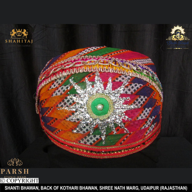 S H A H I T A J Traditional Rajasthani Cotton Mewadi Mothda Pagdi or Turban Multi-Colored for Kids and Adults (MT62)-ST141_18