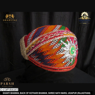 S H A H I T A J Traditional Rajasthani Cotton Mewadi Mothda Pagdi or Turban Multi-Colored for Kids and Adults (MT62)-18-3