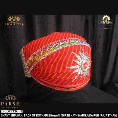 S H A H I T A J Traditional Rajasthani Cotton Mewadi Pagdi or Turban Multi-Colored for Kids and Adults (MT63)-18-3