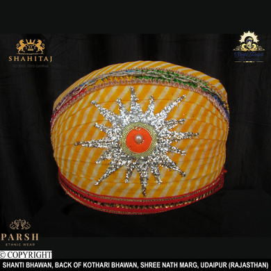 S H A H I T A J Traditional Rajasthani Cotton Mewadi Pagdi or Turban Multi-Colored for Kids and Adults (MT64)-ST143_23andHalf