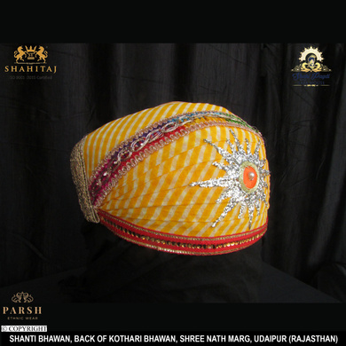 S H A H I T A J Traditional Rajasthani Cotton Mewadi Pagdi or Turban Multi-Colored for Kids and Adults (MT64)-18-3