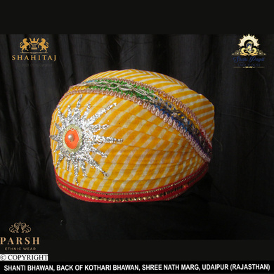 S H A H I T A J Traditional Rajasthani Cotton Mewadi Pagdi or Turban Multi-Colored for Kids and Adults (MT64)-18-4