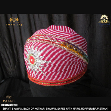 S H A H I T A J Traditional Rajasthani Cotton Mewadi Pagdi or Turban Multi-Colored for Kids and Adults (MT66)-18-3