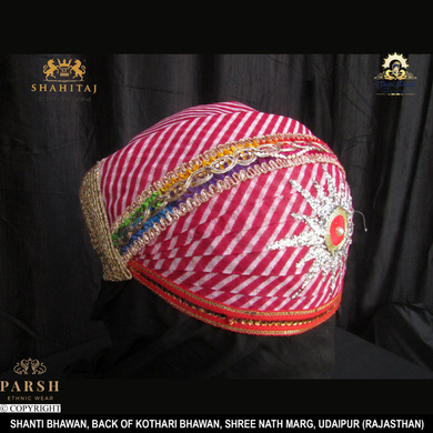 S H A H I T A J Traditional Rajasthani Cotton Mewadi Pagdi or Turban Multi-Colored for Kids and Adults (MT66)-18-4