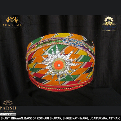 S H A H I T A J Traditional Rajasthani Cotton Mewadi Pagdi or Turban Multi-Colored for Kids and Adults (MT67)-ST145_18andHalf