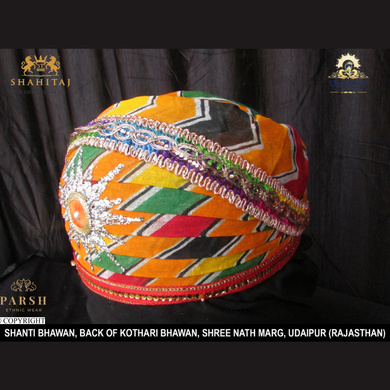 S H A H I T A J Traditional Rajasthani Cotton Mewadi Pagdi or Turban Multi-Colored for Kids and Adults (MT67)-18-3