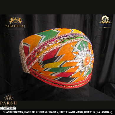 S H A H I T A J Traditional Rajasthani Cotton Mewadi Pagdi or Turban Multi-Colored for Kids and Adults (MT67)-18-4