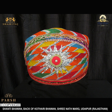 S H A H I T A J Traditional Rajasthani Cotton Mewadi Pagdi or Turban Multi-Colored for Kids and Adults (MT68)-ST146_23andHalf