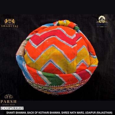 S H A H I T A J Traditional Rajasthani Cotton Mewadi Pagdi or Turban Multi-Colored for Kids and Adults (MT68)-18-3