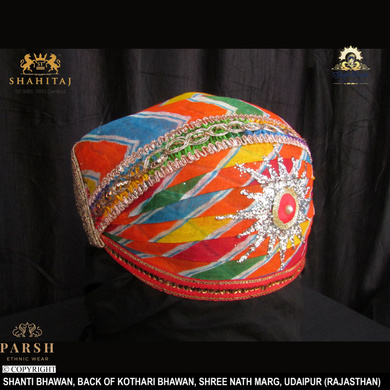 S H A H I T A J Traditional Rajasthani Cotton Mewadi Pagdi or Turban Multi-Colored for Kids and Adults (MT68)-18-4