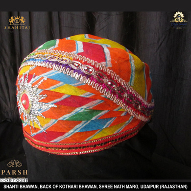 S H A H I T A J Traditional Rajasthani Cotton Mewadi Pagdi or Turban Multi-Colored for Kids and Adults (MT68)-18-5