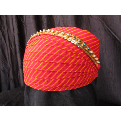 S H A H I T A J Traditional Rajasthani Cotton Mewadi Pagdi or Turban with Pachewadi Multi-Colored for Kids and Adults (MT69)-18-3