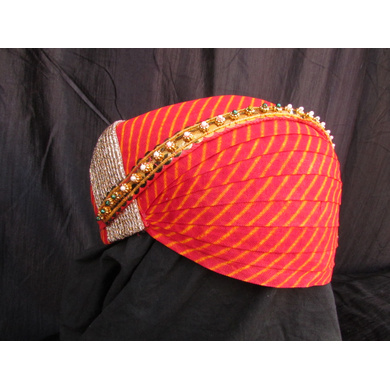 S H A H I T A J Traditional Rajasthani Cotton Mewadi Pagdi or Turban with Pachewadi Multi-Colored for Kids and Adults (MT69)-18-4