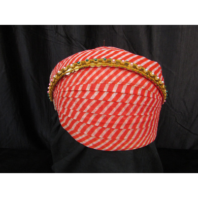 S H A H I T A J Traditional Rajasthani Cotton Mewadi Pagdi or Turban with Pachewadi Multi-Colored for Kids and Adults (MT70)-ST148_23andHalf