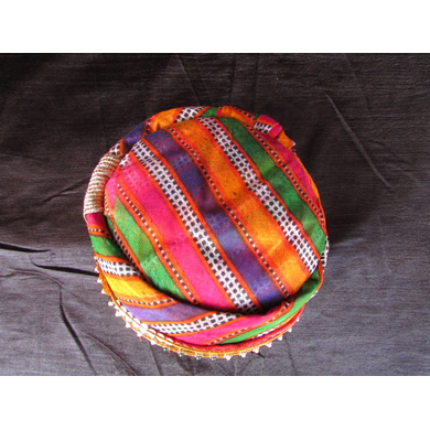 S H A H I T A J Traditional Rajasthani Cotton Mewadi Mothda Pagdi or Turban with Pachewadi Multi-Colored for Kids and Adults (MT72)-18-3