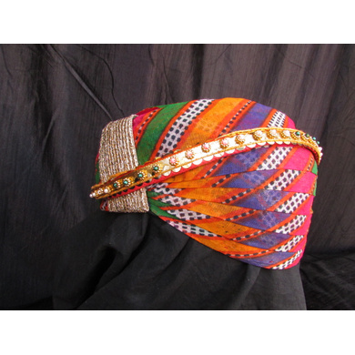 S H A H I T A J Traditional Rajasthani Cotton Mewadi Mothda Pagdi or Turban with Pachewadi Multi-Colored for Kids and Adults (MT72)-18-4