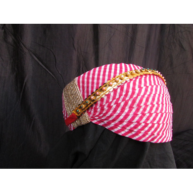 S H A H I T A J Traditional Rajasthani Cotton Mewadi Pagdi or Turban with Pachewadi Multi-Colored for Kids and Adults (MT74)-18-4
