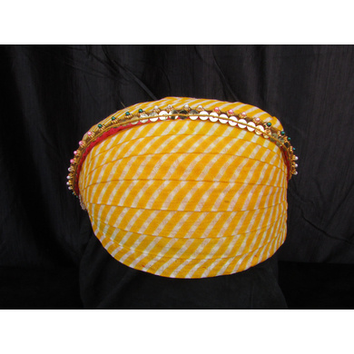 S H A H I T A J Traditional Rajasthani Cotton Mewadi Pagdi or Turban with Pachewadi Multi-Colored for Kids and Adults (MT75)-ST153_18andHalf