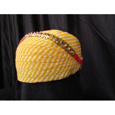 S H A H I T A J Traditional Rajasthani Cotton Mewadi Pagdi or Turban with Pachewadi Multi-Colored for Kids and Adults (MT75)-18-3