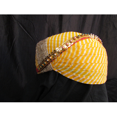 S H A H I T A J Traditional Rajasthani Cotton Mewadi Pagdi or Turban with Pachewadi Multi-Colored for Kids and Adults (MT75)-18-4