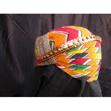 S H A H I T A J Traditional Rajasthani Cotton Mewadi Pagdi or Turban with Pachewadi Multi-Colored for Kids and Adults (MT76)-18-4