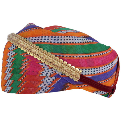 S H A H I T A J Traditional Rajasthani Cotton Mewadi Mothda Pagdi or Turban with Pachewadi Multi-Colored for Kids and Adults (MT84)-18-3