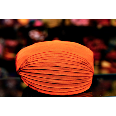 S H A H I T A J Traditional Rajasthani Orange Cotton Mewadi Pagdi Safa or Turban for Kids and Adults (MT100)-ST178_18andHalf