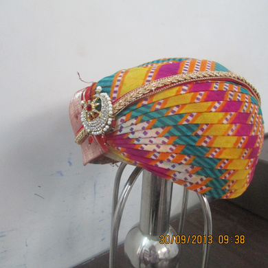 S H A H I T A J Traditional Rajasthani Cotton Mewadi Mothda Pagdi or Turban Multi-Colored for Kids and Adults (MT103)-18-3