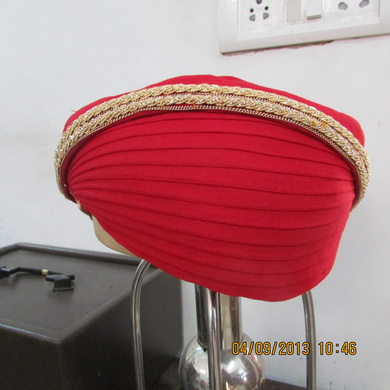 S H A H I T A J Traditional Rajasthani Red Kasumal Cotton Mewadi Pagdi or Turban for Kids and Adults (MT105)-ST183_18andHalf