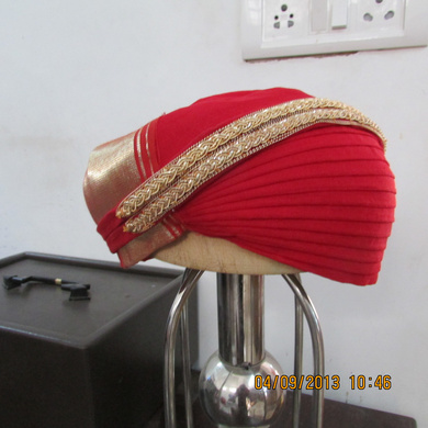 S H A H I T A J Traditional Rajasthani Red Kasumal Cotton Mewadi Pagdi or Turban for Kids and Adults (MT105)-18-3