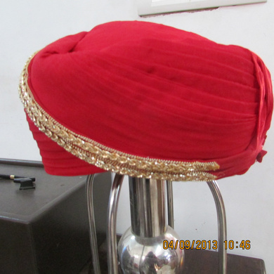 S H A H I T A J Traditional Rajasthani Red Kasumal Cotton Mewadi Pagdi or Turban for Kids and Adults (MT105)-18-4