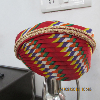 S H A H I T A J Traditional Rajasthani Cotton Mewadi Pagdi or Turban Multi-Colored for Kids and Adults (MT109)-ST187_23andHalf