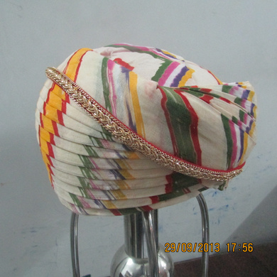 S H A H I T A J Traditional Rajasthani Cotton Mewadi Pagdi or Turban Multi-Colored for Kids and Adults (MT110)-18-4