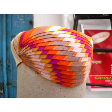 S H A H I T A J Traditional Rajasthani Cotton Mewadi Pagdi or Turban Multi-Colored for Kids and Adults (MT121)-ST199_19andHalf