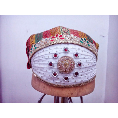 S H A H I T A J Traditional Rajasthani Cotton Mewadi Bohra Pagdi Safa or Turban Multi-Colored for Kids and Adults (MT133)-ST211_18andHalf