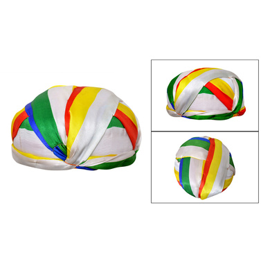 S H A H I T A J Traditional Rajasthani Faux Silk Readymade Jain jaipuri Gol Pagdi Safa or Turban Multi-Colored for Kids and Adults (RT135)-ST213_19andHalf