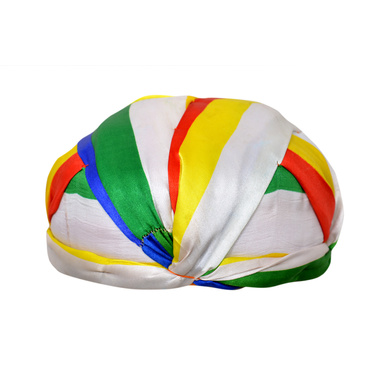 S H A H I T A J Traditional Rajasthani Faux Silk Readymade Jain jaipuri Gol Pagdi Safa or Turban Multi-Colored for Kids and Adults (RT135)-18-3