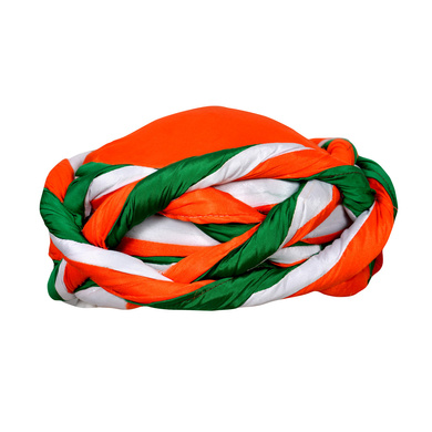 S H A H I T A J Traditional Rajasthani Faux Silk Tricolor or Tiranga barmeri or Vantma Pagdi Safa or Turban Multi-Colored for Kids and Adults (RT138)-ST216_19andHalf