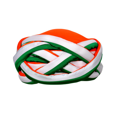 S H A H I T A J Traditional Rajasthani Faux Silk Tricolor or Tiranga barmeri Vantma Pagdi Safa or Turban Multi-Colored for Kids and Adults (RT139)-ST217_18andHalf