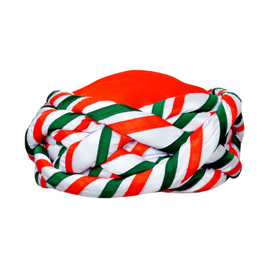 S H A H I T A J Traditional Rajasthani Faux Silk Tricolor or Tiranga Barmeri or Vantma Pagdi Safa or Turban Multi-Colored for Kids and Adults (RT140)-ST218_21andHalf