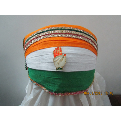S H A H I T A J Traditional Rajasthani Cotton Mewadi Tricolor or Tiranga Pagdi or Turban Multi-Colored for Kids and Adults (MT141)-ST219_19andHalf